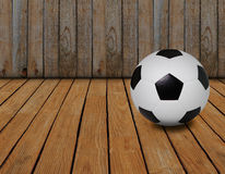 Soccer football and wood texture background Royalty Free Stock Photography