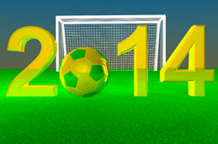2014 Soccer. 2014 with football yellow and green, soccer goal on the back, 3d render Royalty Free Illustration
