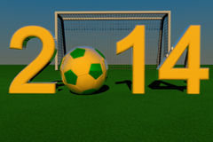 2014 Soccer. 2014 with football yellow and green, soccer goal on the back, lights of sunset, 3d render Vector Illustration