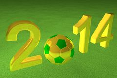 2014 Soccer. 2014 with football yellow and green, over green grass, 3d render Royalty Free Stock Image