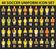40 soccer football yellow uniform icon set Stock Photo