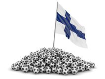 Soccer footballs with Finnish flag. Image with clipping path Royalty Free Stock Image