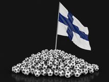 Soccer footballs with Finnish flag. Image with clipping path Stock Image
