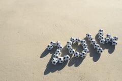 Soccer 2014 Footballs Message Beach Stock Photography