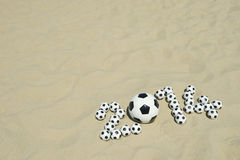 Soccer 2014 Footballs Message Beach Stock Photo