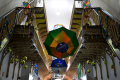 Soccer. Footballs and pattern of the Brazilian flag on an umbrella Royalty Free Stock Photos