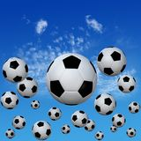 Soccer footballs set in High Cloud Sky. A group of soccer footballs kick into a high cloud blue sky. 3D illustration royalty free illustration