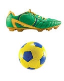 Soccer footwear and ball Royalty Free Stock Photos