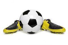 Soccer footwear and football Stock Photo