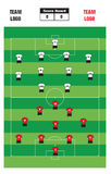 Soccer Formation. Illustration of soccer formation with score board and player costume Royalty Free Stock Photos