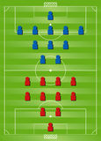 Soccer formation tactics. 4:4:2 v 2:3:5 Soccer formation tactics Stock Photos