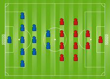 Soccer formation tactics. 4:4:2 v 2:3:5 Soccer formation tactics Royalty Free Stock Images