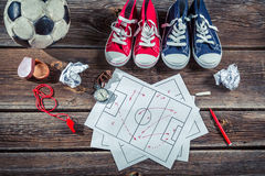 Soccer formation tactics on school desk Royalty Free Stock Photography