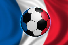 Soccer in France. Soccer ball with french flag Royalty Free Stock Photos