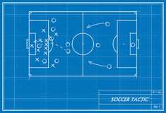 Soccer free kick on blueprint Stock Images