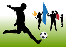 Soccer fun. Soccer players silhouette vector illustration Royalty Free Stock Photo