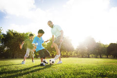 Soccer Fun Sports Family Playing Concept Stock Photo