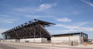 Soccer Futbol stadium construction. The newest soccer stadium in the United States is under construction in the Bay Area for the San Jose Quakes soccer team Royalty Free Stock Photos