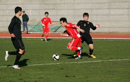 Soccer Game. China soccer olympic team VS Portugal Sub-20 Team, January 28, 2010 in Obidos, Portugal Royalty Free Stock Photos