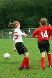 Soccer Game 3. Youth girls at soccer game Royalty Free Stock Images