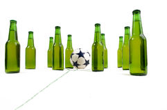 Soccer Game. Just before start of a soccer game. Cold beer bottles ready to start Royalty Free Stock Photography