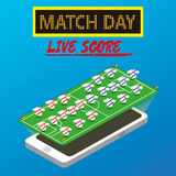 Soccer game. The application for a smartphone. Live scores. Vector illustration Royalty Free Stock Photography