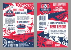 Vector soccer team football match posters. Soccer game championship posters for football cup match. Vector design template of soccer ball at arena stadium Royalty Free Stock Images
