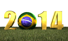 2014 soccer game. 3d image of brazil soccer and 2014 Stock Photography