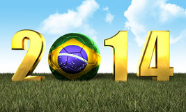 2014 soccer game. 3d image of brazil soccer and 2014 Royalty Free Stock Photography