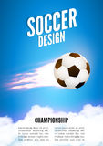 Soccer game design template. Football poster background with ball.  Royalty Free Stock Image