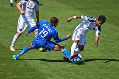 Soccer game Earthquakes vs LA Galaxy. SANTA CLARA, CA - JUNE 25: LA Galaxy player A.J. DeLaGarza compete for the ball with Earthquakes  player Ryan Johnson Stock Photography