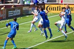 Soccer game Earthquakes vs LA Galaxy. SANTA CLARA, CA - JUNE 25: Players Ryan Johnson (19), Juan Pablo Angel(9), Bobby Burling(2), Gregg Berhalter(3), Omar Royalty Free Stock Photo