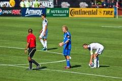 Soccer game Earthquakes vs LA Galaxy. SANTA CLARA, CA - JUNE 25: Earthquakes player Steven Lenhart (24) appealing to referee during the MLS regular season soccer Royalty Free Stock Photo