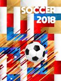 2018 soccer game event ball on color background. Soccer poster for Russia world cup 2018 special match game. Sport event illustration with realistic 3d football Royalty Free Stock Photos