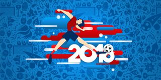 Soccer game event web banner for a 2018 match. Soccer event web banner illustration for special football match in 2018. Male sport player kicking ball with Royalty Free Stock Photo