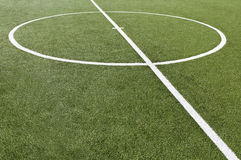 Soccer game field with goal kick. Goal kick line from soccer game field Stock Photos