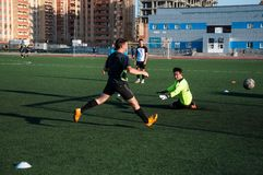 Soccer game The goalkeeper number 20 Royalty Free Stock Images