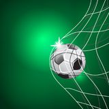 SOCCER GAME MATCH. GOAL MOMENT. BALL IN THE NET. TEMPLATE ILLUSTRATION ON GREEN BACKGROUND stock illustration