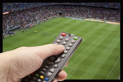 Soccer Game On TV Stock Images