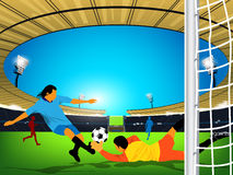 Soccer game in an outdoor stadium. Kick at goal. Illustration of a soccer game in an outdoor stadium. Blue team player is having a shot at the goal and goaler of Royalty Free Stock Image