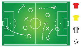 Soccer game play. Soccer field layout to explain strategy of games, vector format Stock Photos