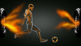 Soccer game player . 3D rendered stock footage