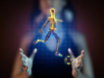 Soccer game player on hologram Stock Photo