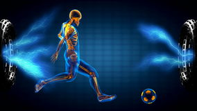 Soccer game player on hologram . 3D rendered stock video