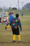Soccer game practice. Waiting to block soccer ball from making points Royalty Free Stock Photo