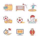 Soccer game signs set. Thin line art icons. Flat style illustrations isolated on white Royalty Free Stock Photos