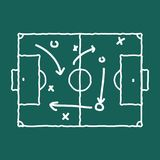 Soccer game strategy coaching blackboard and chalk scheme. royalty free illustration