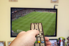 Soccer game on TV Royalty Free Stock Image
