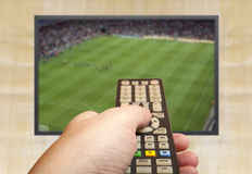 Soccer game on TV Royalty Free Stock Photo