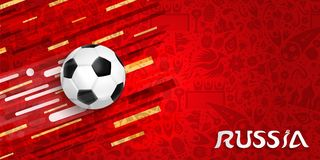 Soccer game web banner for a russian event. Soccer web banner for special football match. Russia text quote and ball illustration with festive color background Royalty Free Stock Photos